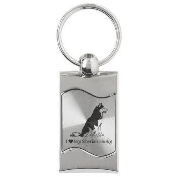 Keychain Fob with Wave Shaped Inlay  - I Love My Siberian Huskie