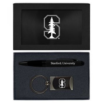 Stanford University -Executive Twist Action Ballpoint Pen Stylus and Gunmetal Key Tag Gift Set-Black
