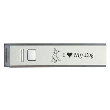 Portable 2600 mAh Portable Cell Phone Charger-I love my Dog-Silver