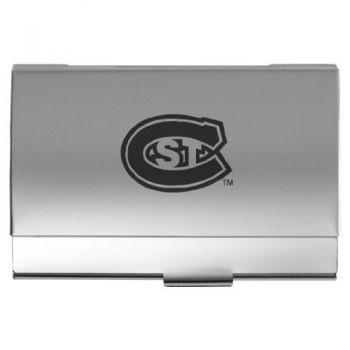 St. Cloud State University - Two-Tone Business Card Holder - Silver