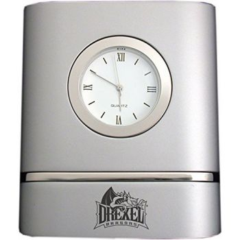 Drexel University- Two-Toned Desk Clock -Silver