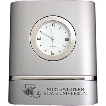 Northwestern State University- Two-Toned Desk Clock -Silver