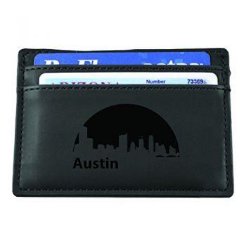 Slim Wallet with Money Clip - Austin City Skyline