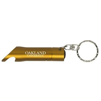 Oakland University - LED Flashlight Bottle Opener Keychain - Gold