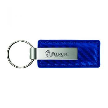Belmont University-Carbon Fiber Leather and Metal Key Tag-Blue