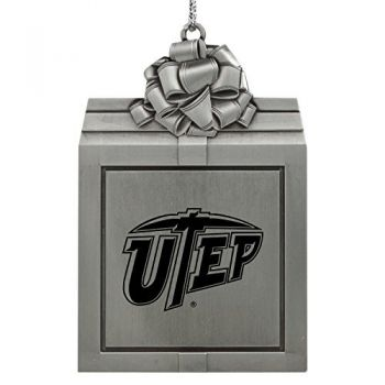 The University of Texas at El Paso -Pewter Christmas Holiday Present Ornament-Silver