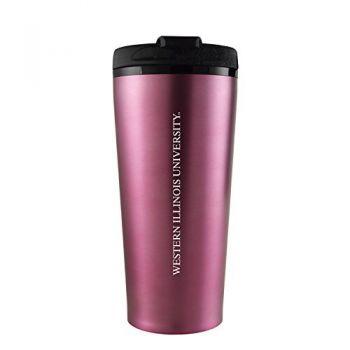 Western Illinois University -16 oz. Travel Mug Tumbler-Pink