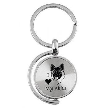 Spinner Round Keychain  - I Love My Akita