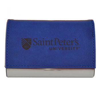 Velour Business Cardholder-Saint Peter's University-Blue