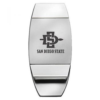 San Diego State University - Two-Toned Money Clip - Silver