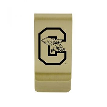 Campbell University|Money Clip with Contemporary Metals Finish|Solid Brass|High Tension Clip to Securely Hold Cash, Cards and ID's|Silver