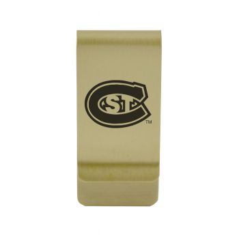St. Bonaventure Bonnies|Money Clip with Contemporary Metals Finish|Solid Brass|High Tension Clip to Securely Hold Cash, Cards and ID's|Silver