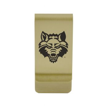 Arkansas State University |Money Clip with Contemporary Metals Finish|Solid Brass|High Tension Clip to Securely Hold Cash, Cards and ID's|Silver