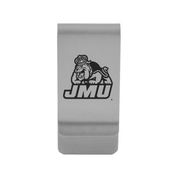 James Madison University|Money Clip with Contemporary Metals Finish|Solid Brass|High Tension Clip to Securely Hold Cash, Cards and ID's|Gold