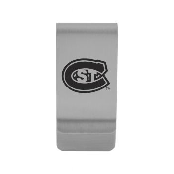 St. Cloud State University|Money Clip with Contemporary Metals Finish|Solid Brass|High Tension Clip to Securely Hold Cash, Cards and ID's|Gold
