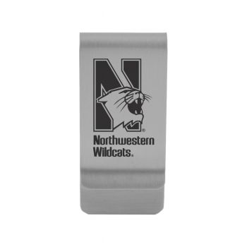Northwestern University|Money Clip with Contemporary Metals Finish|Solid Brass|High Tension Clip to Securely Hold Cash, Cards and ID's|Gold
