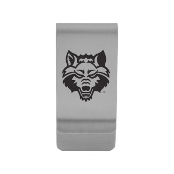 Arkansas State University|Money Clip with Contemporary Metals Finish|Solid Brass|High Tension Clip to Securely Hold Cash, Cards and ID's|Gold