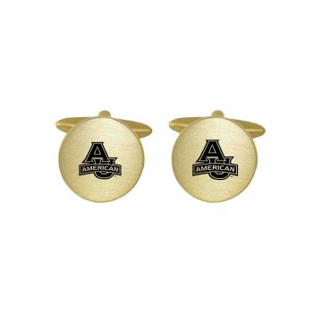 Brushed Metal Cuff Links-American University-Gold