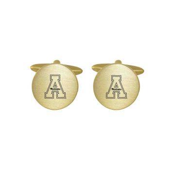 Brushed Metal Cuff Links-Appalachian State University -Gold