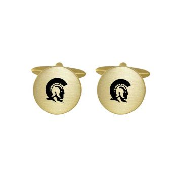Brushed Metal Cuff Links-University of Arkansas At Little Rock-Gold