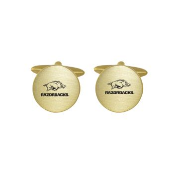 Brushed Metal Cuff Links-University of Arkansas-Gold