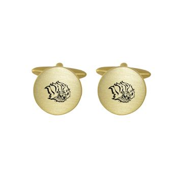 Brushed Metal Cuff Links-University of Arkansas at Pine Buff-Gold