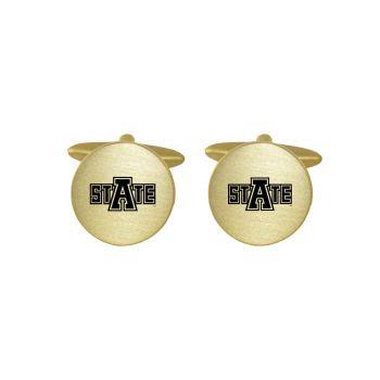 Brushed Metal Cuff Links-Arkansas State University-Gold