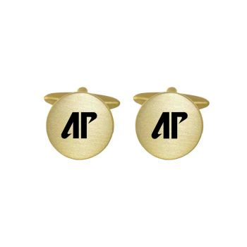 Brushed Metal Cuff Links-Austin Peay State University-Gold