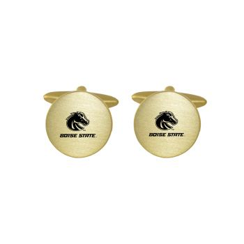 Brushed Metal Cuff Links-Boise State University-Gold