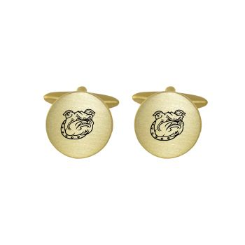 Brushed Metal Cuff Links-Bryant University-Gold