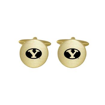Brushed Metal Cuff Links-Brigham Young University-Gold