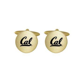 Brushed Metal Cuff Links-University of California Berkeley-Gold