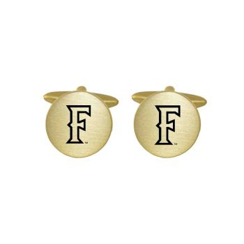 Brushed Metal Cuff Links-California State Univeristy Fullerton -Gold