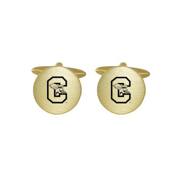 Brushed Metal Cuff Links-Canisus College-Gold
