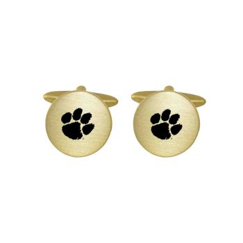 Brushed Metal Cuff Links-Clemson University-Gold