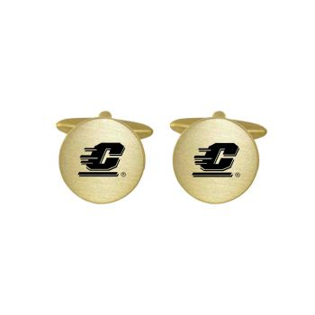 Brushed Metal Cuff Links-Central Michigan University-Gold