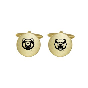 Brushed Metal Cuff Links-University of Central Arkansas-Gold