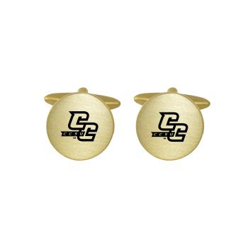 Brushed Metal Cuff Links-Central Connecticut University-Gold