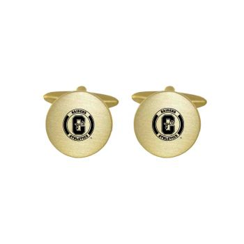 Brushed Metal Cuff Links-Colgate University-Gold