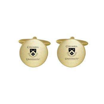 Brushed Metal Cuff Links-Columbia University-Gold