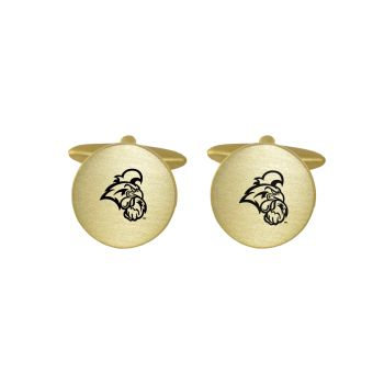 Brushed Metal Cuff Links-Coastal Carolina University-Gold