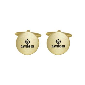 Brushed Metal Cuff Links-Davidson College-Gold