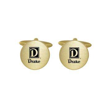 Brushed Metal Cuff Links-Drake University-Gold