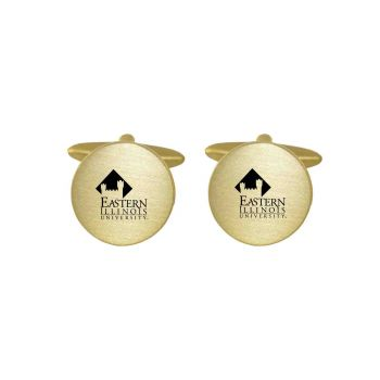 Brushed Metal Cuff Links-Eastern Illinois University -Gold