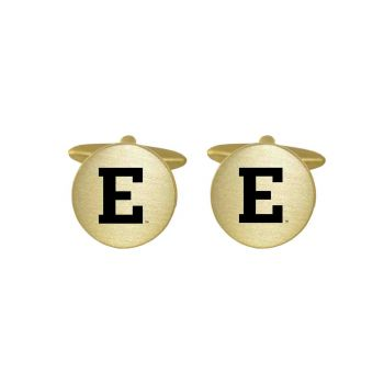 Brushed Metal Cuff Links-Eastern Michigan University-Gold
