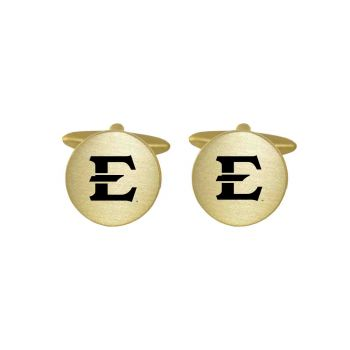 Brushed Metal Cuff Links-East Tennessee State University -Gold