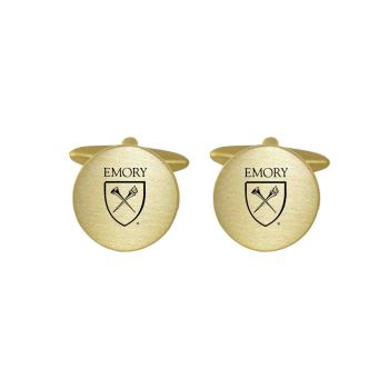 Brushed Metal Cuff Links-Emory University-Gold