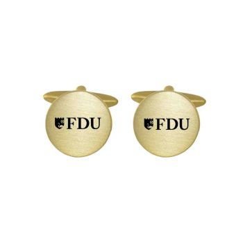 Brushed Metal Cuff Links-Fairleigh Dickinson University -Gold