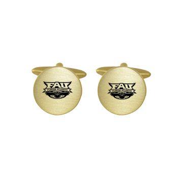 Brushed Metal Cuff Links-Florida Atlantic University -Gold