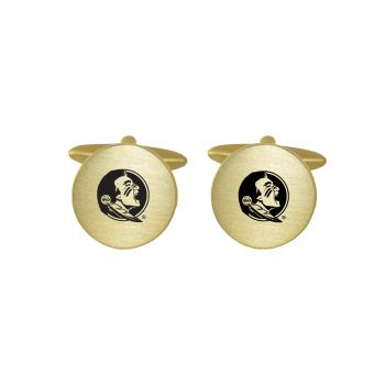 Brushed Metal Cuff Links-Florida State University-Gold
